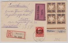 Nrn.: 120 IIA + 177 (4x, 2x vom UR) als MiF auf Einschreiben- Eilboten- Ortsbrief innerhalb Bayreuths