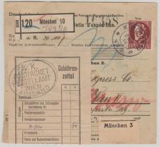Nr.: 101 I, als EF auf Auslands- Paketkarte, von München nach Wien, geprüft Infla Berlin