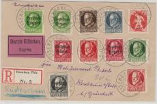 Nrn: 94 u.a (10) als 4 Ausgaben MiF, auf Eilboten- Einschreiben- Rückschein- Fernbrief, von Eisenberg nach Kirchheim