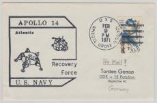 USA, Brief mit Stempel Apolo 14 Recovery Force USNavy, in die DDR, von 1971
