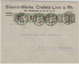 329 A (5x), MeF als Fernbrief verwendet, von Crefeld nach Triberg, vom 5.12.1923, geprüft Infla /OE