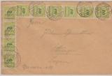 328 (10x) als MeF auf Fernbrief von Nastätten nach Öttingen, vom 24.12.1923, geprüft Infla