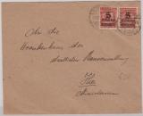 334 A (2x) in MeF auf Ortsbrief innerhalb Oldenburgs, v. 2.12.1923