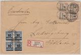 326 A (4x)+ 335 A (4x) auf Einschreiben- Fernbrief von Karlsruhe nach Ludwigsburg, v. 21.11.1923
