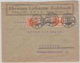 98 + 99b (je 2x) im Wertzeichengeber- 4er Streifen, auf Fernbrief von Rudolstadt nach Nürnberg