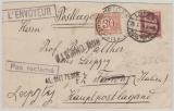 359 EF + Ilalienische Nachportomarke auf Auslandsbrief, postlagernd, nach Florenz und zurück