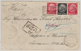 512 + 519 (2x) in MiF auf Auslandsbrief Freiburg nach Teheran / Iran (=> Siemens- Werke ?! 1934!) mit Zensur