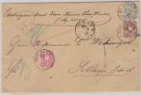 Nrn.: 41, 43 + 44 als Ausgaben- MiF auf Wertbrief von Berlin nach Schwerin