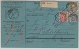 Nrn: 44 u.a. in schöner ausgabengleicher MiF, auf Auslands- Paketkarte von Achern nach Solothurn (CH)