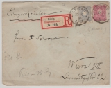 10 Pfg. GS- Umschlag (groß) + Nr.: 42 als Zusatzfrankatur auf Ausland- Einschreiben von Leisnig nach Wien