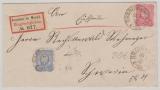 Nrn.: 41 + 42 als MiF auf Eischreiben- Fernbrief von Grabow nach Schwerin