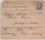 20 Pfg. Postanweisungs- Karte, gebraucht, von Kehl nach Eberbach, gepr. Jäschke- L. BBP!  Sehr selten!!!
