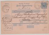 20 Pfg. Postanweisung, gelaufen von Friedrichshall nach Berlin
