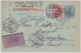 2Pfg.- GS + Nr.: 71 als Zusatzfrankatur als NN- Fernpostkarte von Mockau nach Prenzlau