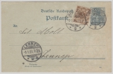 2 Pfg.- GS (P44IIA Reichspost) + Nr.: 45 als Zusatzfrankatur auf Postkarte von Remscheid nach Lennep, geprüft J.- L. BPP