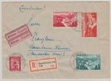 Nrn.: 252- 254 + 264 als MiF auf Express- Einschreiben Fernbrief von Saarbrücken nach Mannheim