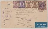 Indien, 1944, 2 R. und andere Werte in MiF, auf Lupo- Zensur- Brief in die USA