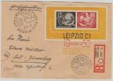 Bl. 7 als EF auf Einschreiben- Fernbrief von Leipzig nach Bad Dürrenberg, mit 2 versch. Ausstellungsstempeln