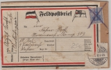 Dt. Feldpost 1916, Feldpost- Päckchenaufkleber Frankiert mit DR Nr. 87, Heimat- Front