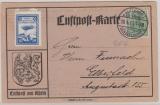 Nr.: 85, 1913, als EF auf Luftpostkarte (Luftpost am Rhein) von Düsseldorf nach Elberfeld, + Spendenvignette, 1. Lupo...