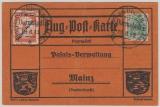 Nr.: 85, + Flugpostmarke IV, 1912, als EF auf Luftpostkarte von Darmstadt nach Mainz, + entsprechende Stempeln
