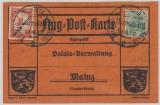 Nr.: 85, + Flugpostmarke IV, 1912, als MiF auf Luftpostkarte von Darmstadt nach Mainz, + entsprechenden Stempeln