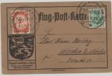 Nr.: 85+ Flugpostmarke I, 1912, als MiF auf Luftpostkarte (Luftpost am Rhein) von Mainz nach Norden, + entsprechende Stempel