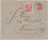 Nr.: 86 I + Österreichische 10 Heller- Marke als MiF, von Karlsbad / Donaueschingen nach FFM