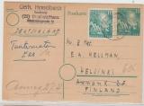 10 Pfg. 1. Bundestags- GS + 111 als Zusatzfrankatur als Auslandskarte von Diepholz nach Helsinki