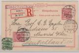10 Pfg.- Antwort- GS (Antwort- Teil) + Zs- Frankatur (Nrn.: 46 + 47) als Einschreiben- Fernpostkarte von Berlin nach Neiwied