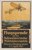 Schweizer Flugpost, 1913, Nr.: 1, Vignette Aarau + Stempel, nach Baden, auf anlaßbezogener Karte!