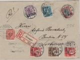 Dänemark, 1926, schöne MiF aus 7 verschiedenen Werten, auf Auslands- Einschreiben von Broager nach Berlin
