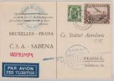 Belgien, 1937, Flugpostkarte mit 1,35 Fr. MiF zum SABENA- Erstflug von Brüssel nach Prag, schöne Postkarte auf Rs.