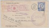 Tonga, 1937, Tin Can Mail, Brief gelaufen von Niuafoou nach Tonga, mit div Bestätigungstempel Vorder- und Rückseitig