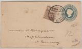 Cape of Good Hope, 1901, 1/2 Penny GS- Umschlag + 2 Penny Zusatzfrankatur auf Brief nach Mögeltondern (D. ?)
