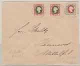 13 b (2x) + 14 d in MiF auf Einschreibenbrief nach Hannover (E.- Zettel fehlt), innen signier Bühler
