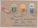 191 WOR dgz, 194 POR dgz, + 215 OR, als MiF auf Einschreiben- Fernbrief von Senftenberg nach Kiel