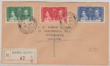 Hong Kong, 1937, Krönungs Satz, als MiF auf FDC- Einschreiben nach England
