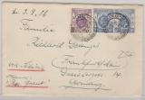 Hong Kong, 1936, 25 Ct. MiF, auf Auslandsbrief nach FF/M, interessanter Laufweg! via Sibiria und Steamer Pres. Grant