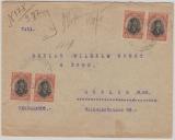 Bulgarien, 1918, 10 Stotinki (4x) als MeF auf Auslandseinschreiben von Gorna Orechovica nach Berlin