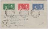 Cayman Islands, 1938, Krönungs- Ausgaben in MiF auf Auslands- Einschreiben nach England