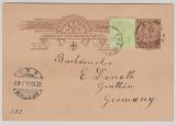 Australien, South- Australia, 1903, 1 P.- GS+ 1/2 d. Zusatzfrankatur als Postkarte von Frewville nach Genthin (D)