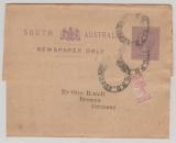 Australien, South- Australia, ca. 1900, 1/2 P.-Streifband GS+ 1/2 d. Zusatzfrankatur als Streifband von Adelaide nach Bremen