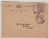 Australien, South- Australia, ca. 1900, 1/2 P.-Streifband GS- Vs.+ 1/2 d. Zusatzfrankatur als Streifband von Adelaide nach Bremen