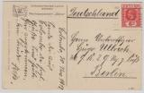 Ceylon, 1913, 6 Ct. EF auf Postkarte nach Berlin, rs. Schiffsansicht des Reichspostdampers Bühlow