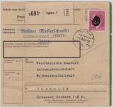 B + M. 1943, 4 Kr. A.H. als EF auf Paketkarte von Iglau nach Chemnitz