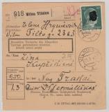 Dt. Bes. Ostland, 1942, 50 Pfg. AH (DR!) als Ef auf Paketkarte von Vilnius nach Trakai, in dieser Form sehr selten!
