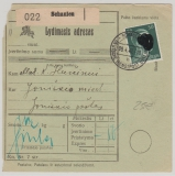 Durch Deutsche DP, 1942, 50 Pfg. AH (DR!) als EF auf Paketkarte von Schaulen nach Joniskis, in dieser Form sehr selten!