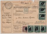 Durch Deutsche DP / Dt. Bes. Ostland, 1943, 50 Pfg. AH (6x) u.a. als MiF auf Paketkarte von Riga nach Führt, sehr selten!