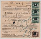 Dt. Bes. Ostland, 1943, 50 Pfg. AH (3x) u.a. als MiF auf Paketkarte für 1 Paket von Riga nach Bad Nauheim, sehr selten!